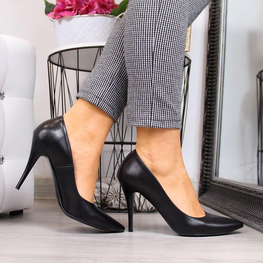 Женские туфли на шпильке черный матовый Juma 2160