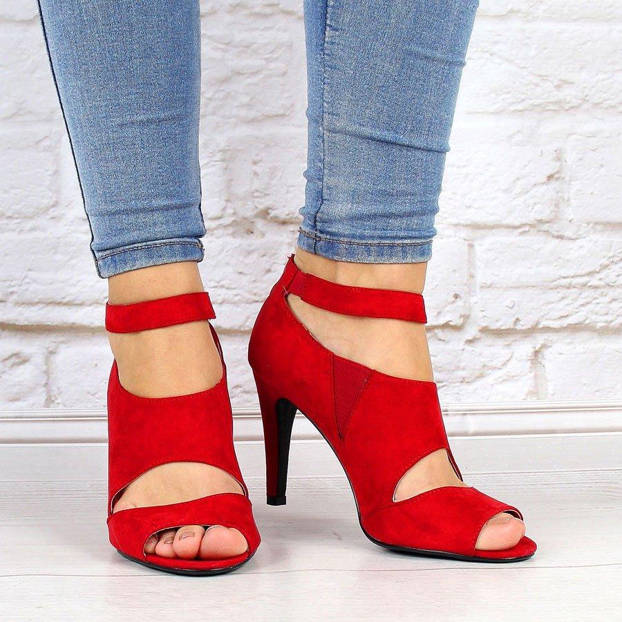 Czerwone sandały damskie cut out Vinceza