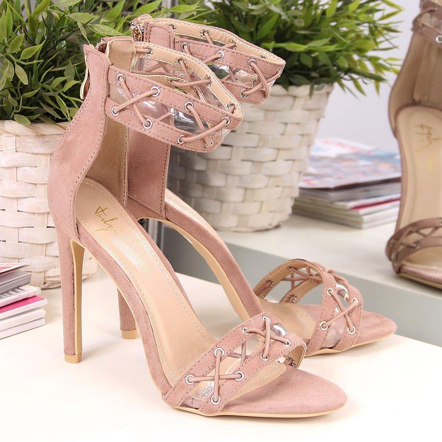 Sandały damskie na szpilce brudny róż Sergio Todzi