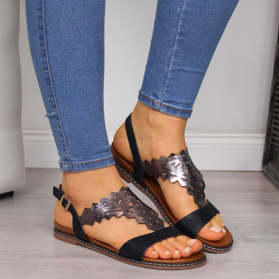 Sandały damskie czarne Sergio Leone