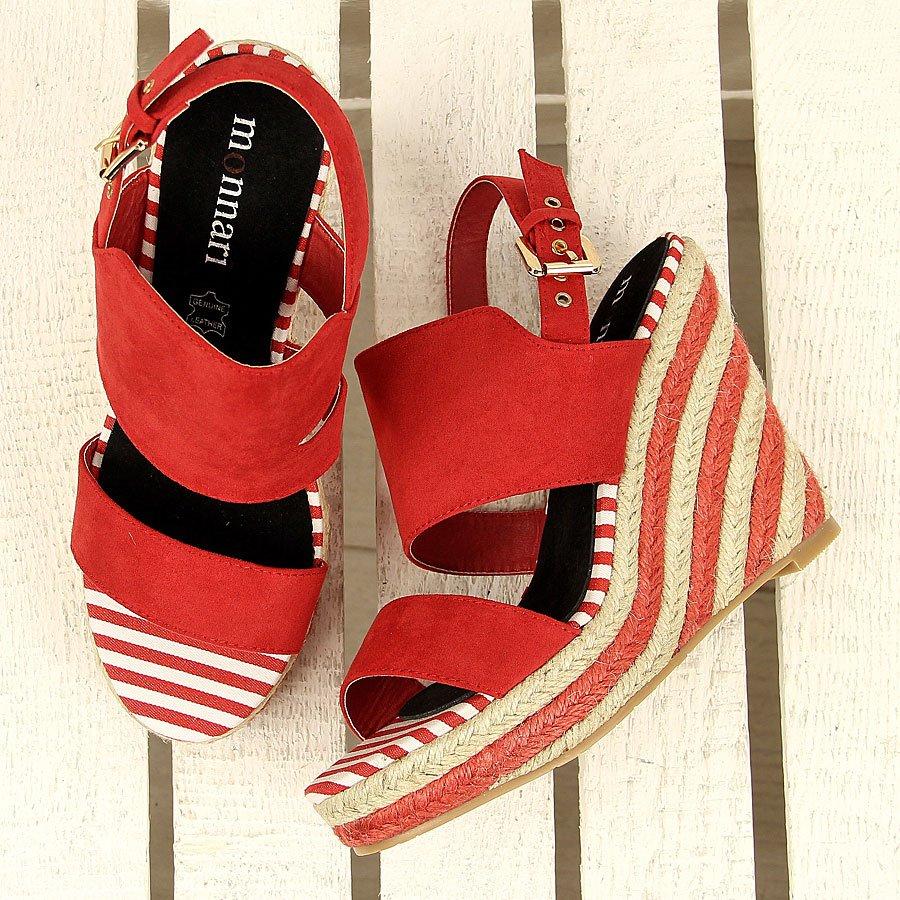 Czerwone sandały espadryle na koturnie Monnari
