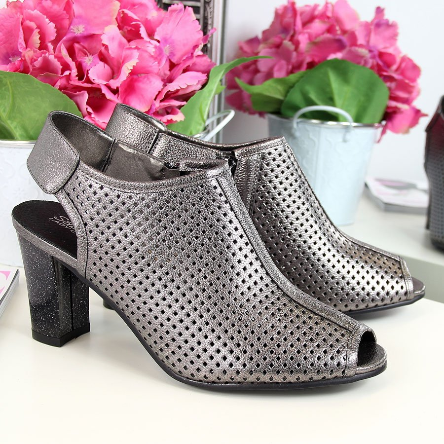 Sandały damskie zabudowane ażurowe srebrne Sabatina