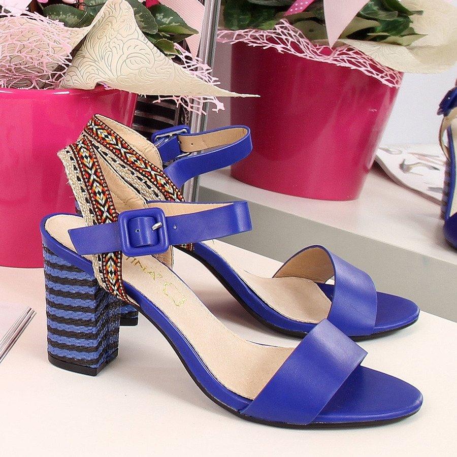 Sandały espadryle na słupku niebieskie Sabatina