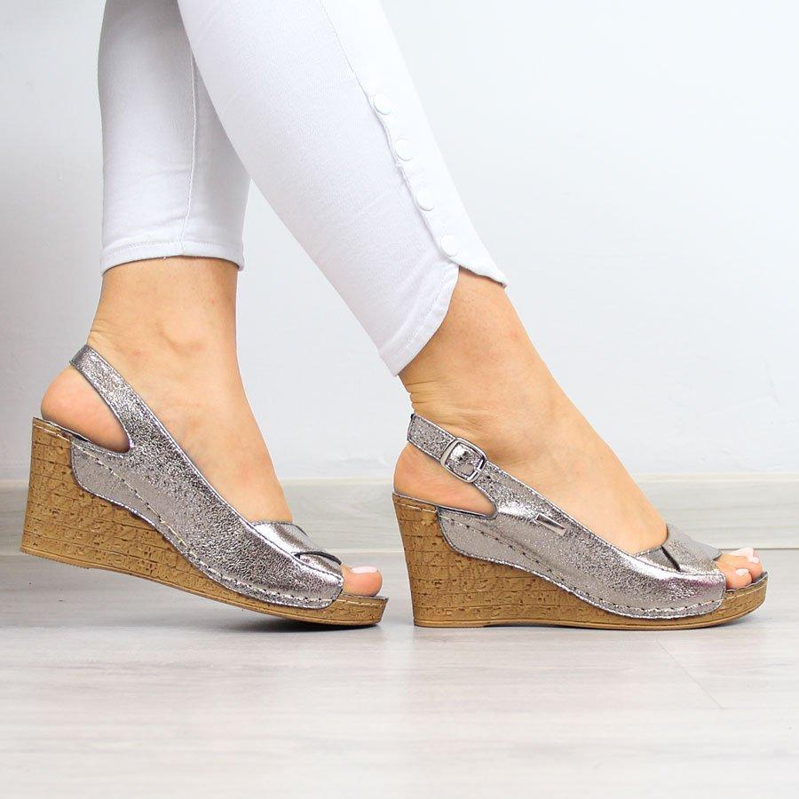 Sandały damskie na koturnie srebrne Jezzi