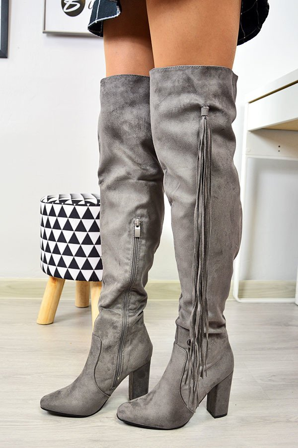 Kozaki za kolano z frędzlami ocieplane szare Seastar
