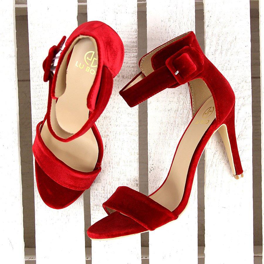 Czerwone sandały szpilki welurowe Lu Boo 188-39