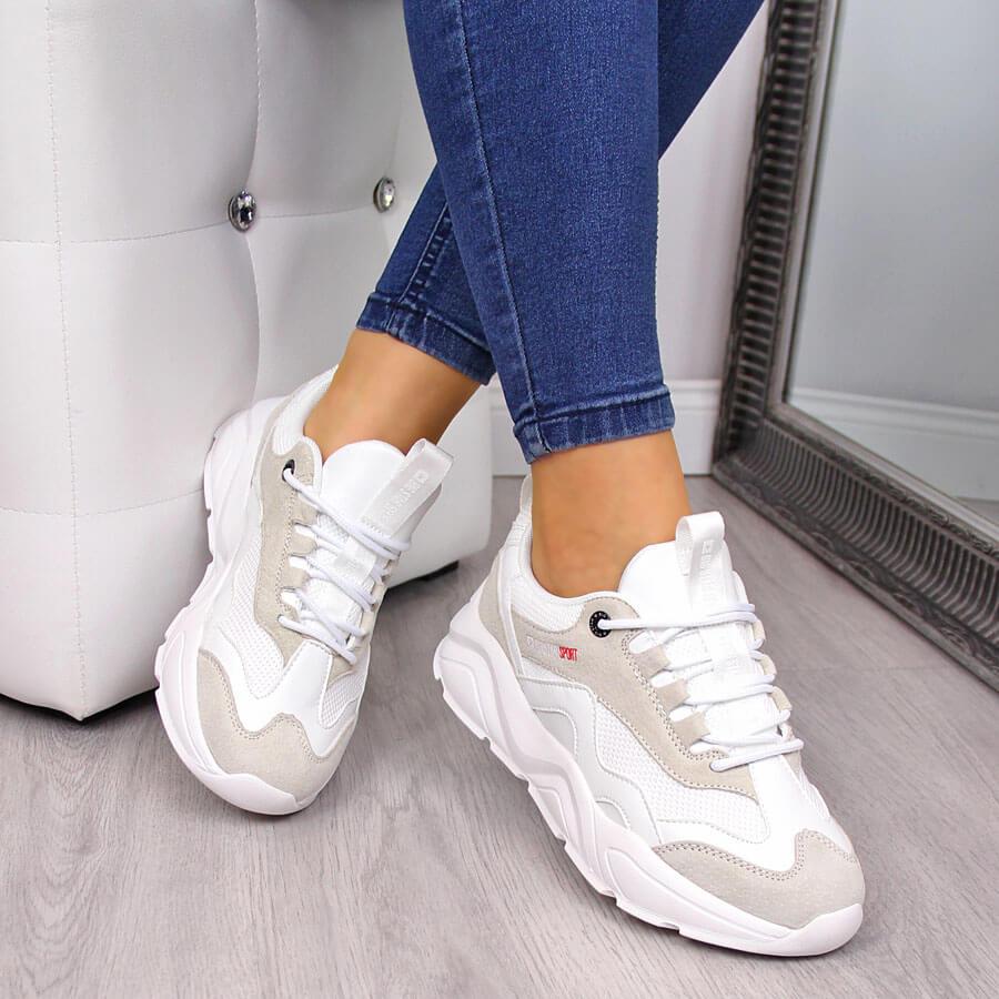 Sneakersy damskie na koturnie białe Big Star FF274958