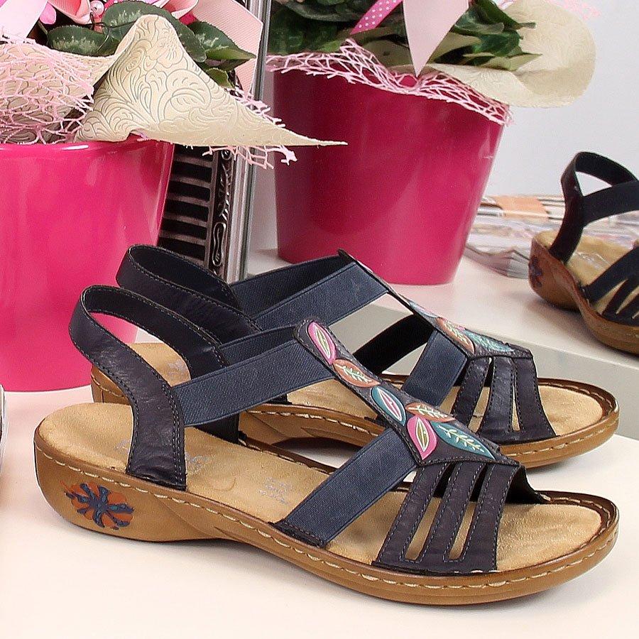 Sandały damskie na gumki granatowe Rieker 60171-14