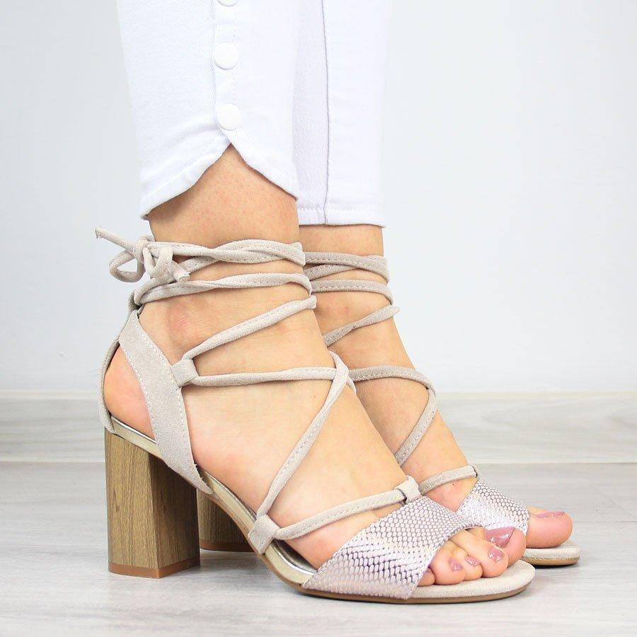 Sandały damskie wiązane beżowe Jezzi