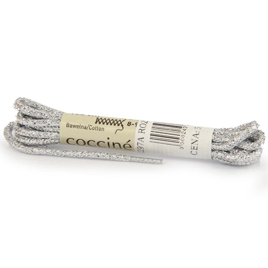 COCCINE srebrne sznurowadła 100 cm metaliczne