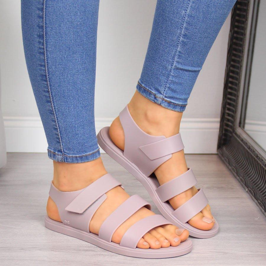 Sandały damskie gumowe na rzep nude Zaxy