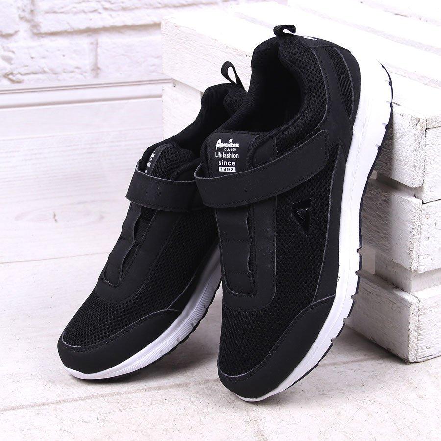 Czarne buty sportowe męskie na rzep American Club