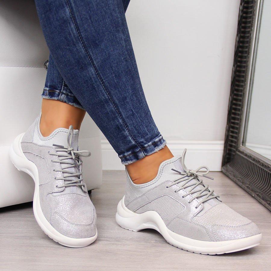 Sneakersy skórzane wsuwane srebrne Vinceza