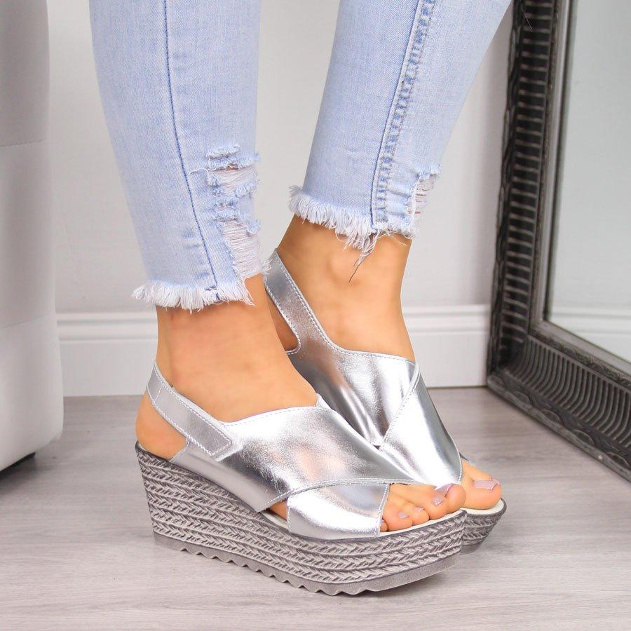 Sandały damskie skórzane srebrne Dolce Pietro 1031