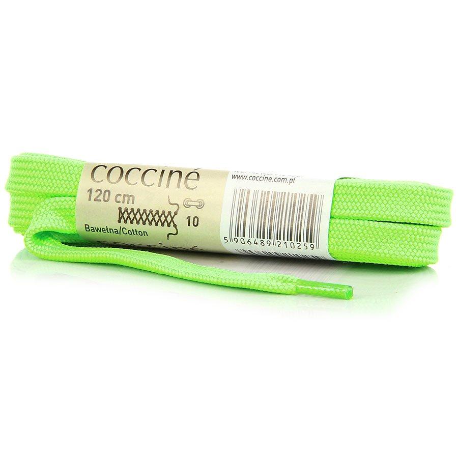 COCCINE neonowe zielone sznurowadła bawełniane 120 cm płaskie