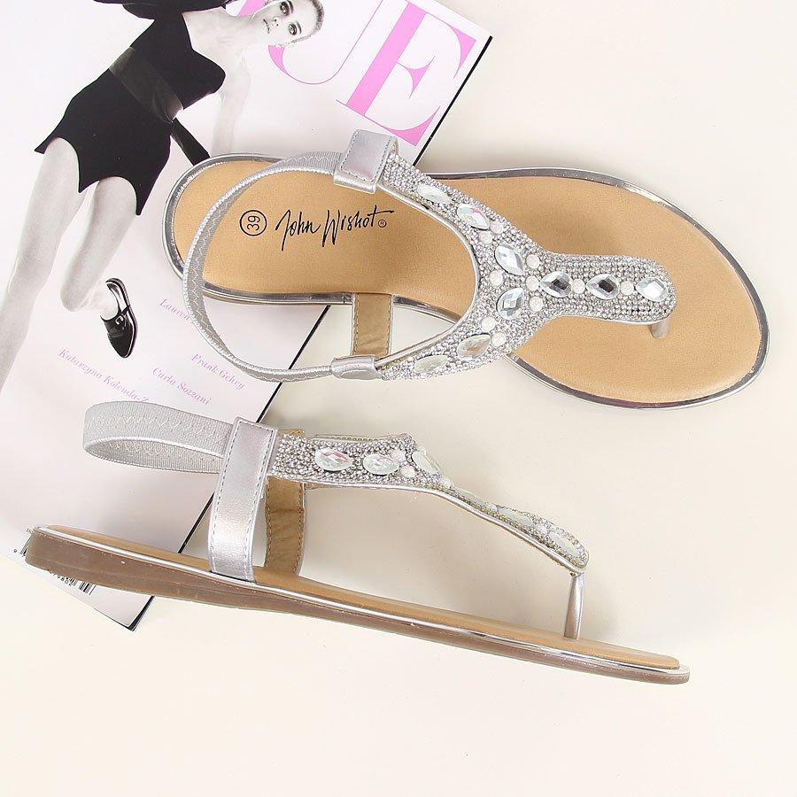 Sandały japonki z kamieniami srebrne Wishot