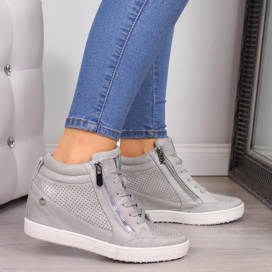 Sneakersy damskie na koturnie szare Xti