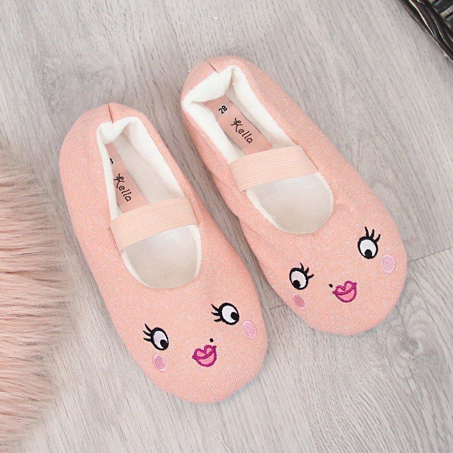 Тапочки для девочек на резинке розовые Kella