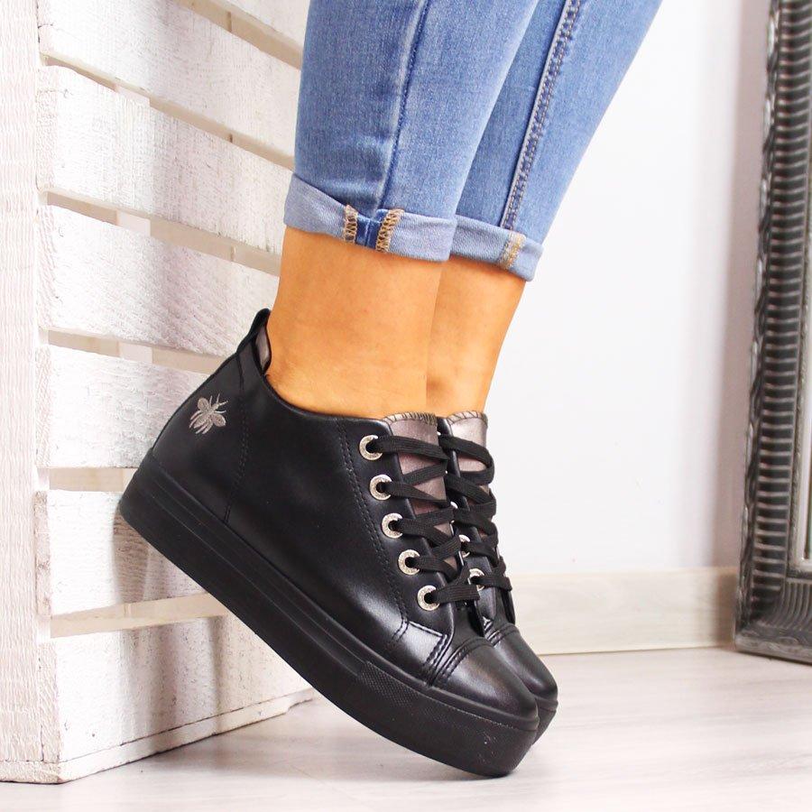 Sneakersy damskie tenisówki na koturnie czarne McKeylor