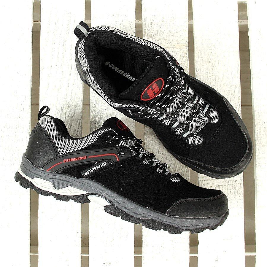 Buty męskie trekkingowe z membraną czarne Hasby