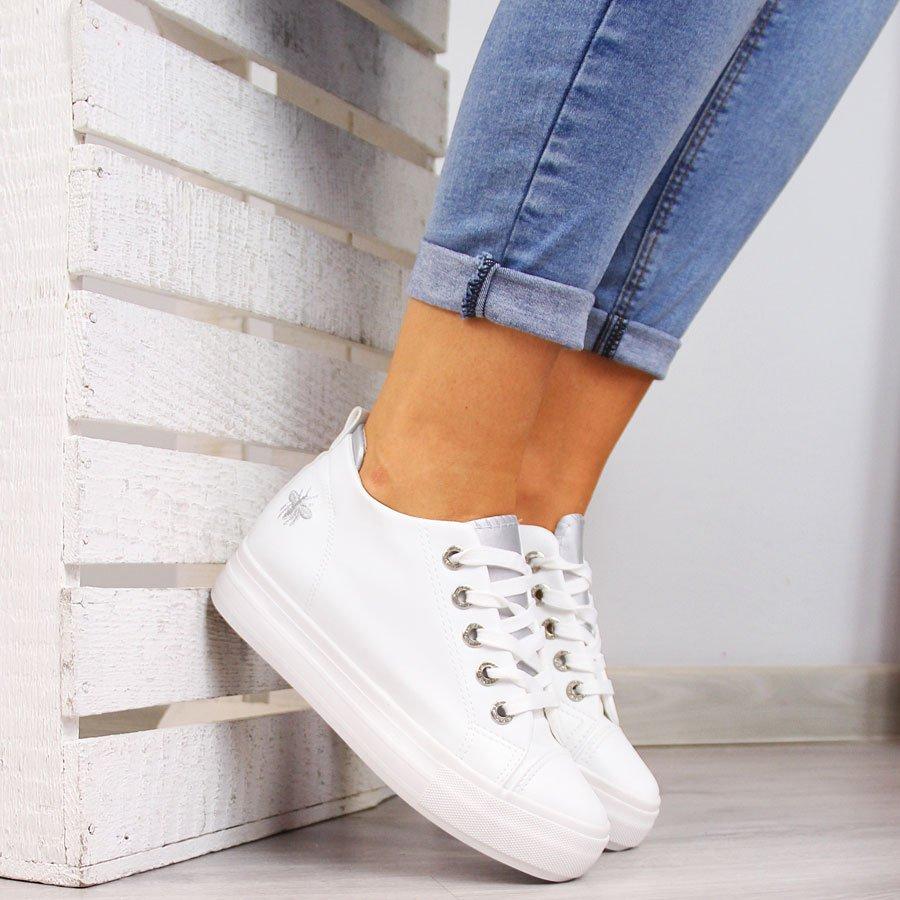 Sneakersy damskie tenisówki na koturnie białe McKeylor