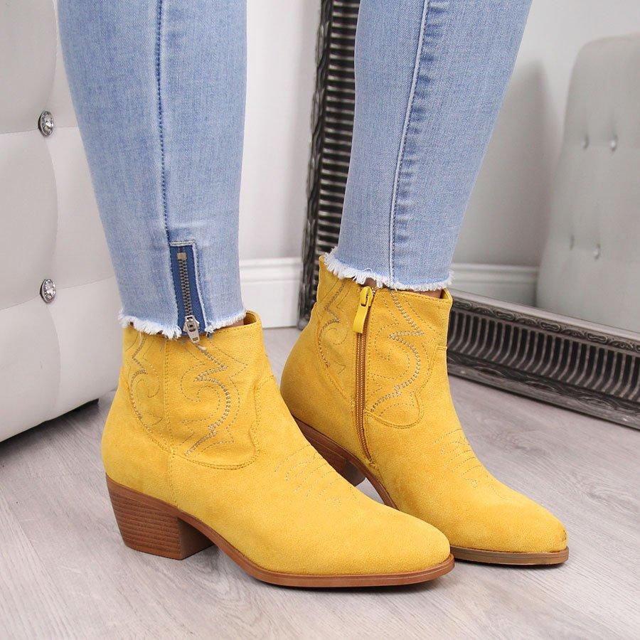 Kowbojki damskie zamszowe z przeszyciami żółte Jezzi