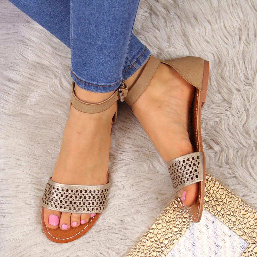 Sandały damskie ażurowe brązowe eVento